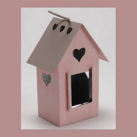 Photophore maison cabane oiseaux coeurs