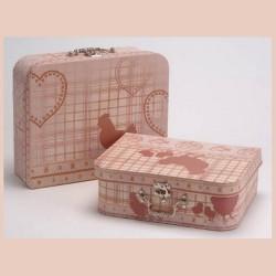 Set de 2 valises poules coeurs