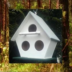 Cabane 3 ouvertures oiseaux en bois