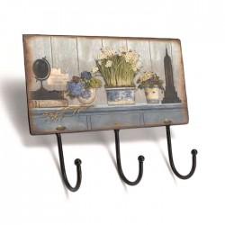 """Patère 3 crochets """"Vases Fleuris"""""""