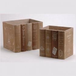 Set deux livres en bois pour ranger dossiers, lettres...