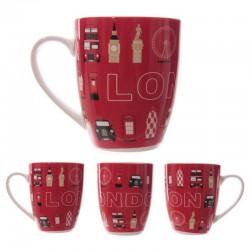 Mug rouge London Monuments en porcelaine